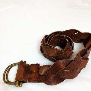 Accessories - Braided western belt wide thick brown leather
